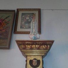 Antigüedades: PEANA PAN DE ORO Y ANGEL PARA SANTO REPRODUCION. Lote 94767539