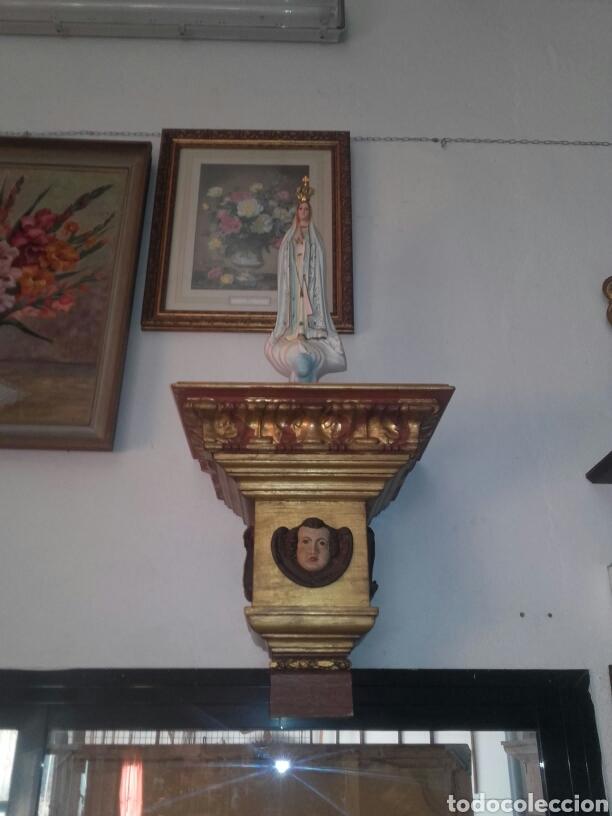 Antigüedades: Peana pan de oro y angel para santo reproducion - Foto 2 - 94767539