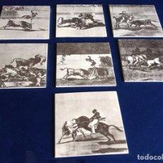 Antigüedades: COLECCION DE 7 AZULEJOS LITOGRAFIADOS DE LA TAUROMAQUIA DE GOYA. Lote 94769519
