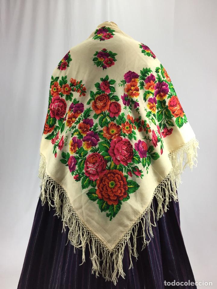 MANTÓN DE MERINO ESTAMPADO (Antigüedades - Moda y Complementos - Mujer)