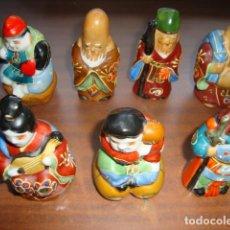 Antigüedades: ANTIGUOS.SIETE DIOSES CHINOS DE LA FORTUNA Y LA SALUD EN PORCELANA CHINA. Lote 237443140