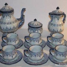 Antigüedades: JUEGO DE TÉ O CAFÉ EN CERÁMICA ESMALTADA DE TALAVERA - FIRMADO DURAN - MEDIADOS SIGLO XX. Lote 94825999