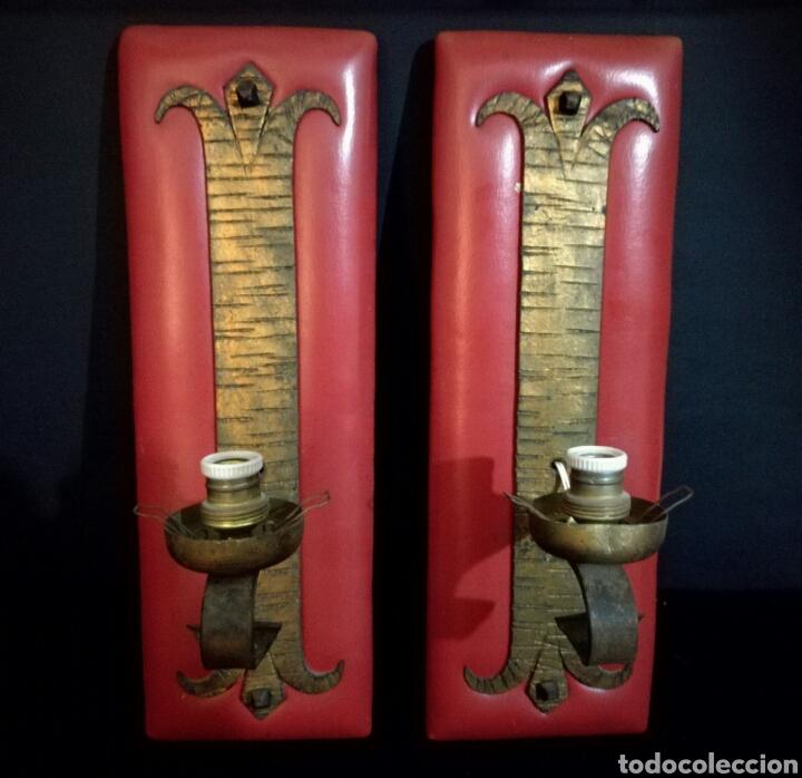 PAREJA DE LAMPARAS APLIQUES LAMPARA APLIQUE PARED BRONCE FORJA, VINTAGE (Antigüedades - Iluminación - Apliques Antiguos)