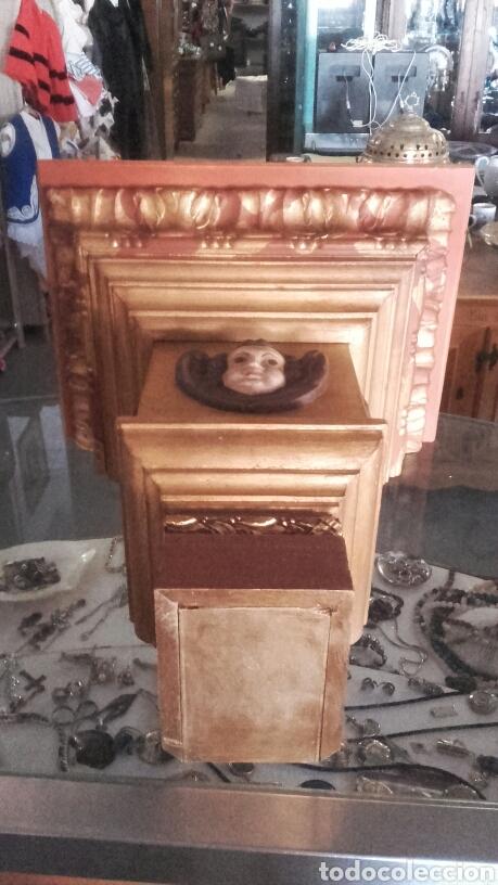 Antigüedades: Peana pan de oro y angel para santo reproducion - Foto 3 - 94767539