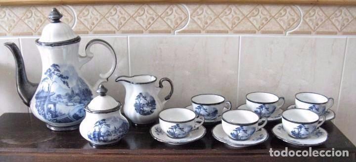 ANTIGUO JUEGO DE CAFÉ PORCELANA C.C. ALBA S.A. ORO-PLATA-PLATINO (OVIEDO, ESPAÑA ) (Antigüedades - Porcelanas y Cerámicas - Santa Clara)