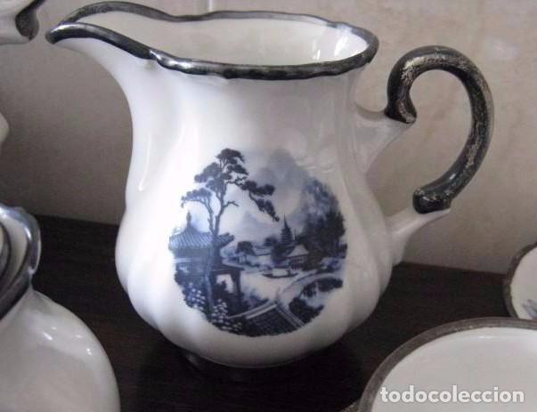 Antigüedades: ANTIGUO JUEGO DE CAFÉ PORCELANA C.C. ALBA S.A. ORO-PLATA-PLATINO (OVIEDO, ESPAÑA ) - Foto 4 - 94846631
