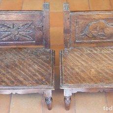 Antigüedades: PAREJA DE SILLAS EN MADERA TALLADA.. Lote 94852339