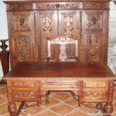 Antigüedades: ANTIGUO CONJUNTO DE DESPACHO DE ROBLE MACIZO TALLADO. ESPECTACULAR TALLA.. Lote 94879139