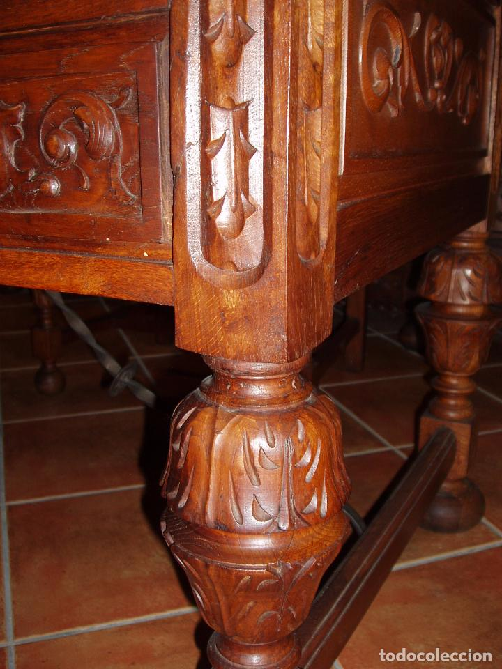 Antigüedades: ANTIGUO CONJUNTO DE DESPACHO DE ROBLE MACIZO TALLADO. ESPECTACULAR TALLA. - Foto 2 - 140312908