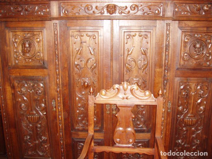 Antigüedades: ANTIGUO CONJUNTO DE DESPACHO DE ROBLE MACIZO TALLADO. ESPECTACULAR TALLA. - Foto 3 - 140312908