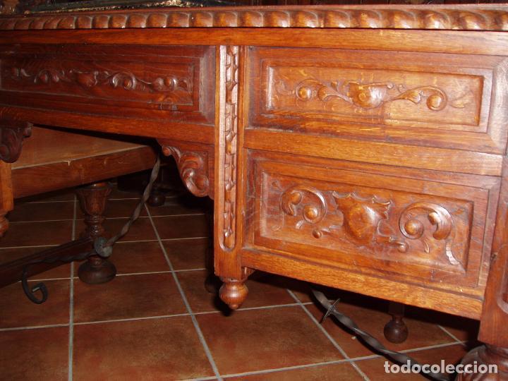 Antigüedades: ANTIGUO CONJUNTO DE DESPACHO DE ROBLE MACIZO TALLADO. ESPECTACULAR TALLA. - Foto 5 - 140312908