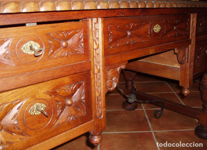 Antigüedades: ANTIGUO CONJUNTO DE DESPACHO DE ROBLE MACIZO TALLADO. ESPECTACULAR TALLA. - Foto 10 - 140312908