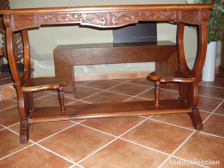 Antigüedades: ANTIGUA CONSOLA DE CAOBA MACIZA, TALLADA Y PATAS FORMA DE LIRA. VINTAGE - Foto 4 - 94880851