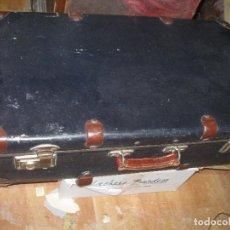 Antigüedades: ANTIGUA MALETA TIPO BAUL POR DENTRO NEGRA Y REMACHES METAL AÑOS 30. Lote 94920227