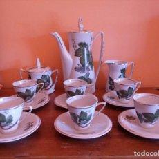 Antigüedades: ANTIGUO JUEGO DE CAFÉ PORCELANA SANTA CLARA VIGO. Lote 94925103