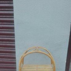 Antigüedades: LEJA TRES BALDAS EN CAÑA MIMBRE BAMBU MUY VINTAGE MIDE 73 CM. Lote 94956055