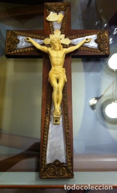 PRECIOSO CRUCIFIJO EN MADERA MEDIDAS 46 X 27CM (Antigüedades - Religiosas - Crucifijos Antiguos)