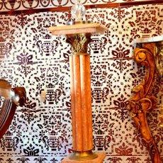 Antigüedades: PAREJA DE COLUMNAS EN MARMOL Y BRONCE . Lote 94995599