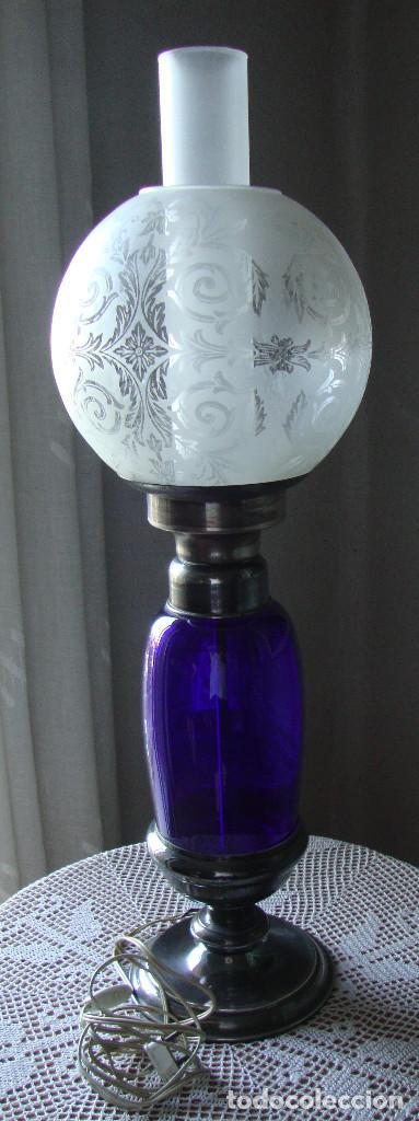 IMPRESIONANTE QUINQUE PLATA CRISTAL Y CRISTAL AZUL VER FOTO (Antigüedades - Iluminación - Quinqués Antiguos)