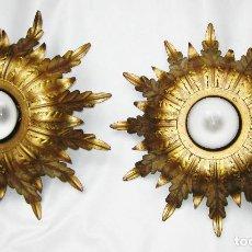 Antigüedades: LAMPARAS ANTIGUAS FORJA DORADA TIPO SOL LAMPARA VINTAGE. Lote 95006479