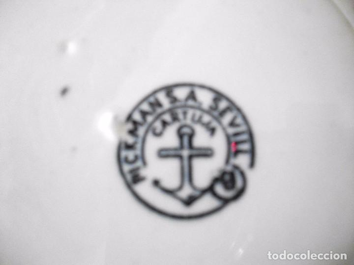 Antigüedades: 5 PLATOS ANTIGUOS DE LA CARTUJA DE SEVILLA PIKMAN SELLADOS - 22 CM PLATO - Foto 6 - 95059067
