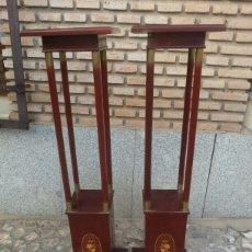 Antigüedades: PAREJA DE MACETEROS DE CAOBA MODERNISTAS. Lote 95078118