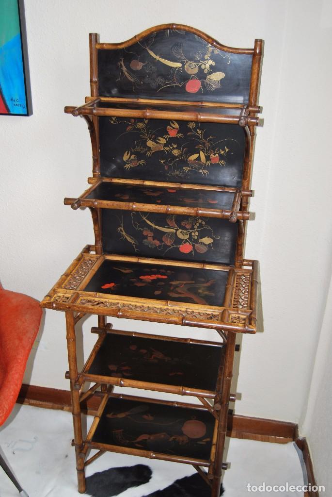 Estanter a victoriana bamb y madera lacada comprar for Muebles auxiliares clasicos madera