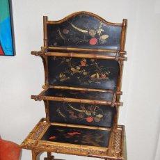 Antigüedades: ESTANTERÍA VICTORIANA - BAMBÚ Y MADERA LACADA - MUEBLE CON BALDAS - CHINA - JAPÓN - FINALES S.XIX. Lote 95116983