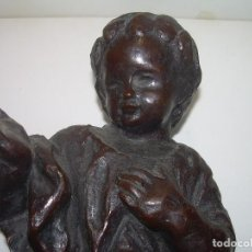 Antigüedades: ANTIGUA Y DE GRAN TAMAÑO FIGURA DE NIÑO JESUS DE BRONCE..BONITA PATINA ANTIGUA.. Lote 95149551