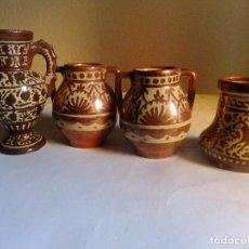 Antigüedades: 4 JARRON PEQUEÑOS CERAMCA REFLEJO METÁLICO MANISES.. Lote 95170419