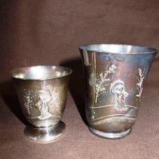 Antigüedades: LOTE DE DOS VASOS JAPONESES CON DIBUJO BAÑO PLATA CON CONTRASTE CCF. Lote 95271155