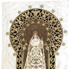 Antigüedades: EXTRAORDINARIO TRABAJO DE BORDADO SOBRE SEDA DE UNA VIRGEN - S. XIX. Lote 95295303