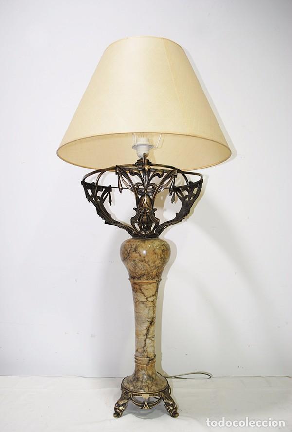 LÁMPARA DE SOBREMESA ANTIGUA DE ALABASTRO (Antigüedades - Iluminación - Lámparas Antiguas)