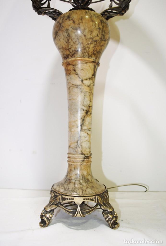 Antigüedades: LÁMPARA DE SOBREMESA ANTIGUA DE ALABASTRO - Foto 2 - 95300203