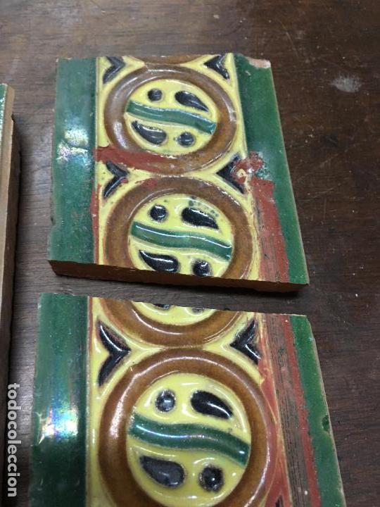 Antigüedades: ANTIGUA PAREJA DE CENEFA CERAMICA HIJO DE J MENSAQUE - SEVILLA - MEDIDA 20CM UNIDAD - - Foto 5 - 141633068