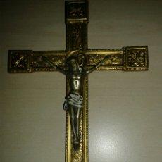 Antigüedades: CRUCIFIJO EN BRONCE AL MERCURIO. Lote 95304540