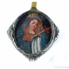 Antigüedades: PRECIOSO Y RARO RELICARIO DEVOCIONARIO EN PLATA VIRGEN DOLOROSA SIGLO XVIII. Lote 95315559