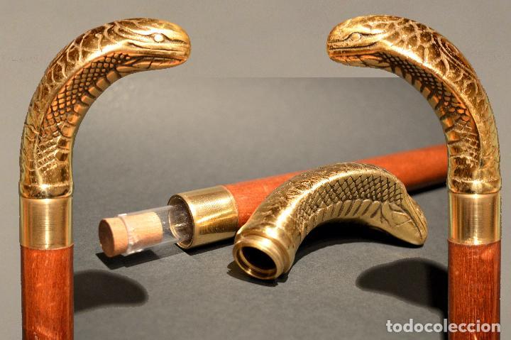 ANTIGUO BASTON DE DOBLE USO MANGO EN BRONCE FORMA SERPIENTE COBRA (Antigüedades - Moda - Bastones Antiguos)