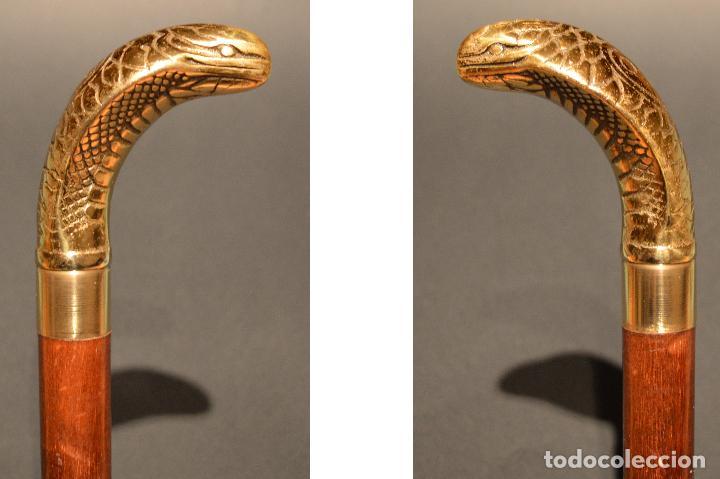 Antigüedades: ANTIGUO BASTON DE DOBLE USO MANGO EN BRONCE FORMA SERPIENTE COBRA - Foto 13 - 95337095