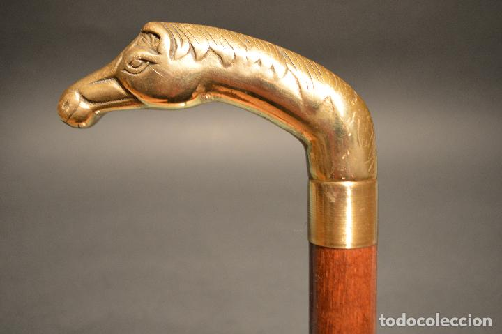 Antigüedades: ANTIGUO BASTON DE DOBLE USO MANGO EN BRONCE FORMA CABALLO - Foto 2 - 95338555