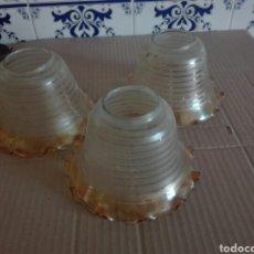 Antigüedades: LOTE DE TRES TULIPAS DE CRISTAL. Lote 95363155