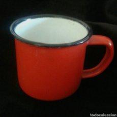 Antigüedades - Antigua pequeña taza hierro esmaltada sello base - 95366726
