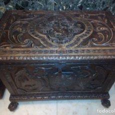 Antigüedades: ARCÓN TALLADO ROBLE. Lote 95390871