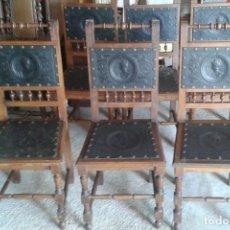 Antigüedades - 6 sillas alfonsinas, cuero repujado, finales s. XIX - 95393907