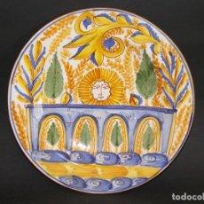 Antigüedades: ANTIGUO PLATO LOZA MANISES DE CERÁMICA FANG I FAL. Lote 95410743
