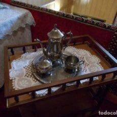 Antigüedades: JUEGO PARA CAFE DE ALPACA PLATEADA ,ES DE LOS AÑOS 70 ESTA PERFECTO. Lote 95413011