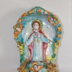 Antigüedades: BENDITERA LOZA CERÁMICA ANTIGUA FIRMADA DANIEL MARTIN SAGRADO JESÚS MONASTERIO DE NAVARRO. Lote 95420847