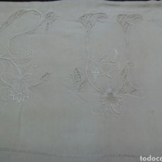 Antigüedades: * ANTIGUA SABANA DE LINO CON GRANDES INICIALES. 1,65 M DE ANCHURA. Lote 95462902