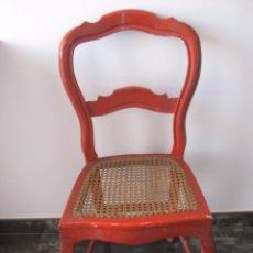 Antigüedades: SILLA DE MADERA CURVADA, CON ASIENTO DE REJILLA. . Lote 95478987