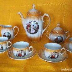 Antigüedades: ANTIGUO JUEGO DE CAFE. SANTA CLARA. VIGO. ESCENAS CLASICAS PINTADAS A MANO. ¡QUE PRECIO!. Lote 95483143